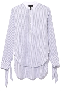 TIE-UP SLEEVES STRIPED SHIRT
