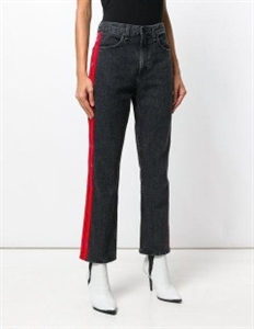 ANKLE STRAIGHT JEANS WITH RED STRIPES