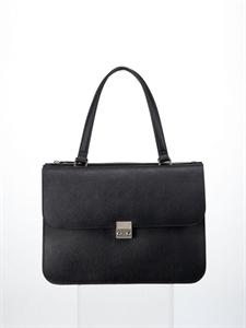 Black split leather handbag