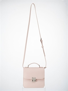 Pink split leather handbag