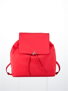 Red nylon backpack