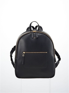 Black soft cow leather backpack (L)