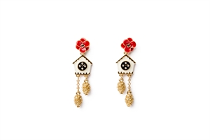 cuckoo clock drop earrings