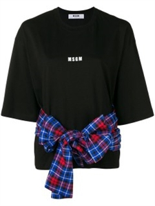 CHECKED BELTED T-SHIRT
