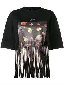 FRUIT PRINT FRINGED TEE