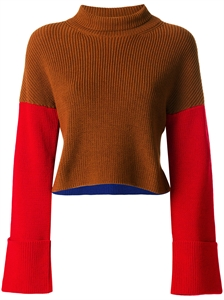 Colour-block Cropped Knit