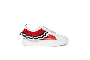 ROUCHED LACE-UP CUPSOLE SNEKARERS