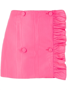 RUFFLE-TRIMMED WRAP AROUND MINI SKIRT