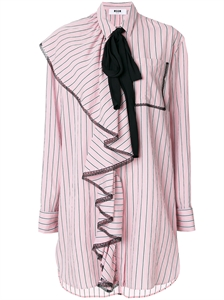 RUFFLE FRONT STRIPED SHIRT DRESS