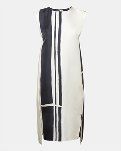 Silk Twill Striped Minimal Sheath Dress