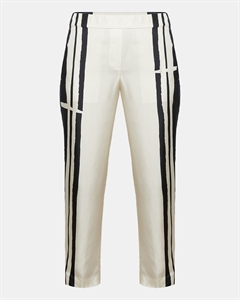 Silk Twill Striped Pull-On Trouser