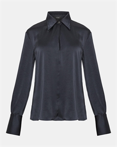 Satin Wide-Collar Blouse