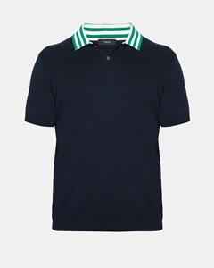 Cotton Striped Collar Polo