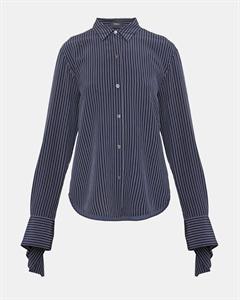 Silk Pinstripe Tie-Cuff Shirt