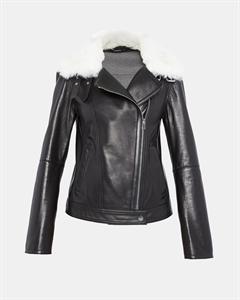 Shearling-Trimmed Moto Jacket