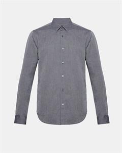 Cotton Linen Hidden-Button Collar Shirt