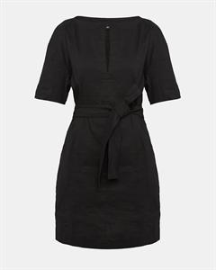 Organic Crunch Linen Belted Shift Dress
