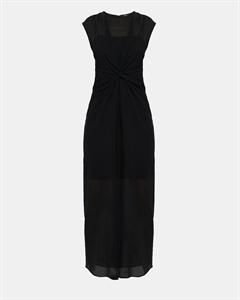 Cotton Knot Front Midi Dress