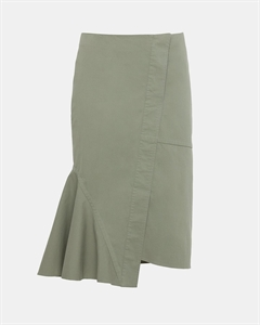 Casual Twill Reconstructed Midi Skirt
