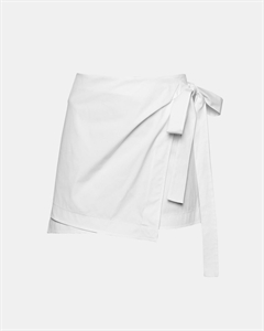 Stretch Cotton Wrap-Tie Skirt