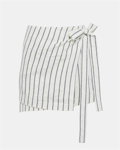 Striped Linen Wrap-Tie Skirt