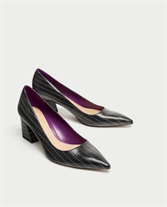 STRIPED MID HEEL COURT SHOES