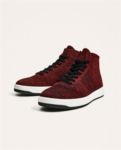 RED TECHNICAL FABRIC HIGH TOP SNEAKERS