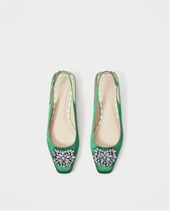FLAT SLINGBACK SHOES WITH BEADED APPLIQUÉ