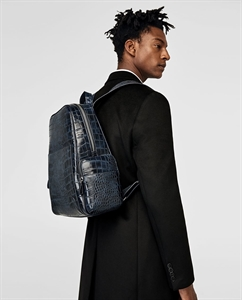 BLUE REPTILE-EFFECT EMBOSSED BACKPACK