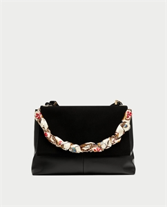 LEATHER CITY BAG WITH SCARF DETAIL