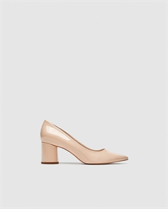 FAUX PATENT LEATHER BLOCK HEEL COURT SHOES