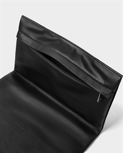 BLACK FOLDOVER CLUTCH