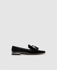 FAUX PATENT LEATHER TASSEL LOAFERS