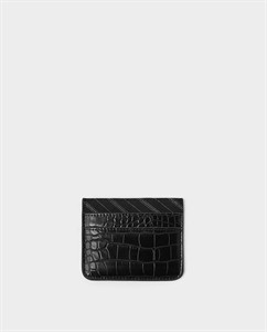 BLACK CARD HOLDER WITH REPTILE-EFFECT EMBOSSING