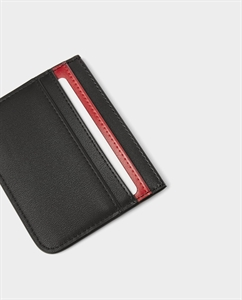 BLACK CARD HOLDER WITH RED DETAIL