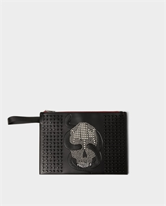 BLACK CLUTCH WITH STUDDED SKULL