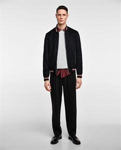 FAUX SUEDE BOMBER JACKET WITH TRIMS
