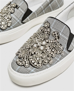 BEADED FABRIC SNEAKERS