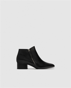HIGH HEEL LEATHER ANKLE BOOTS WITH ZIP