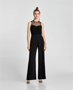 CONTRASTING DRAPED JUMPSUIT