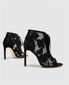 LACE-UP EMBROIDERED HIGH HEEL SHOES