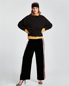 VELVET TROUSERS WITH STRIPES