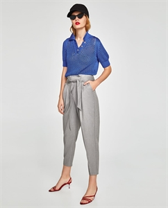 PLEATED TROUSERS WITH BOW