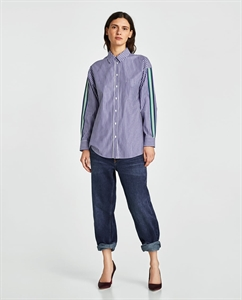 STRIPED SHIRT WITH CONTRASTING TRIMS