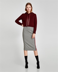 CHECKED PENCIL SKIRT WITH STRIPE