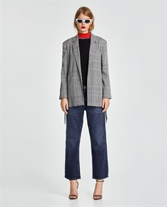 CHECKED BLAZER WITH TIED BELT