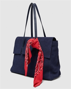 LEATHER CITY BAG WITH HANDKERCHIEF DETAIL