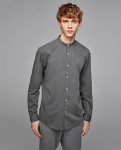 MELANGE SHIRT WITH STAND-UP COLLAR