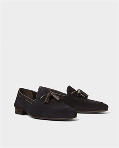 NAVY BLUE LEATHER LOAFERS