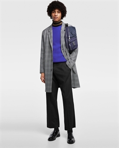 CHECKED DROP SHOULDER COAT